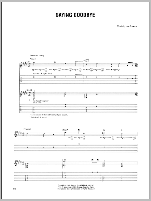 Tablature guitare Saying Goodbye de Joe Satriani - Tablature Guitare