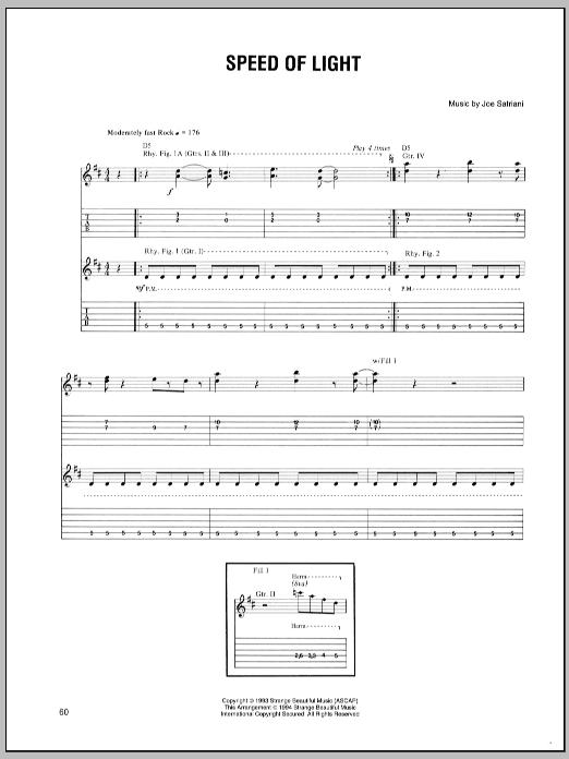 Tablature guitare Speed Of Light de Joe Satriani - Tablature Guitare