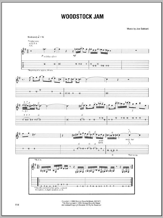 Tablature guitare Woodstock Jam de Joe Satriani - Tablature Guitare