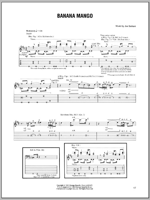 Tablature guitare Banana Mango de Joe Satriani - Tablature Guitare
