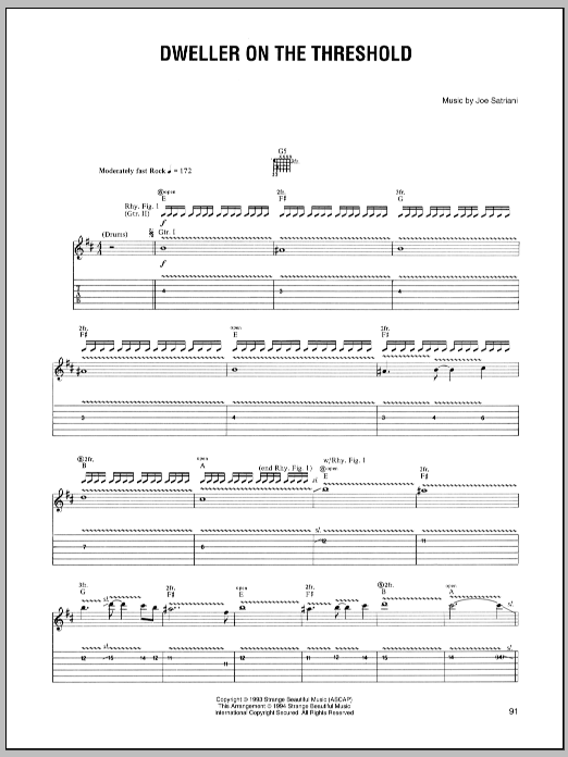 Tablature guitare Dweller On The Threshold de Joe Satriani - Tablature Guitare