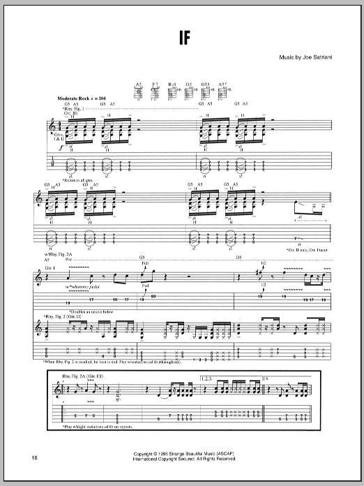 Tablature guitare If de Joe Satriani - Tablature Guitare