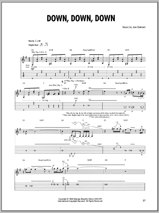 Tablature guitare Down, Down, Down de Joe Satriani - Tablature Guitare