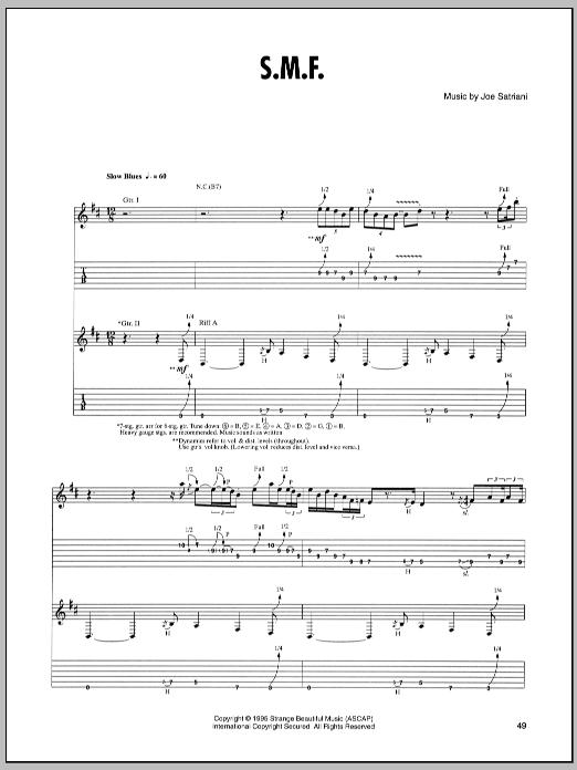 Tablature guitare S.M.F. de Joe Satriani - Tablature Guitare