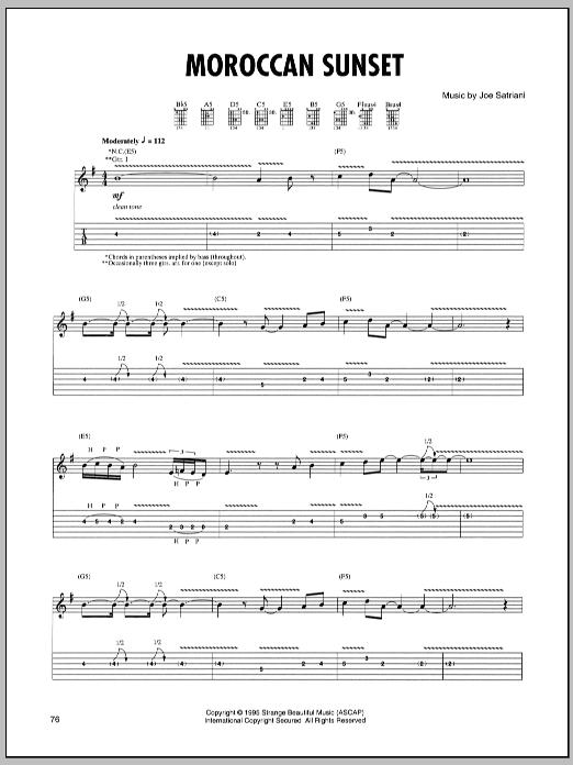 Tablature guitare Moroccan Sunset de Joe Satriani - Tablature Guitare