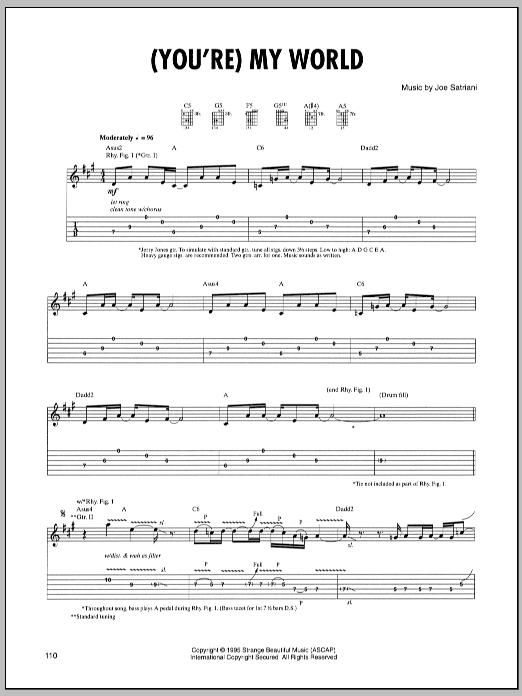 Tablature guitare (You're) My World de Joe Satriani - Tablature Guitare