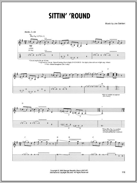 Tablature guitare Sittin' Round de Joe Satriani - Tablature Guitare