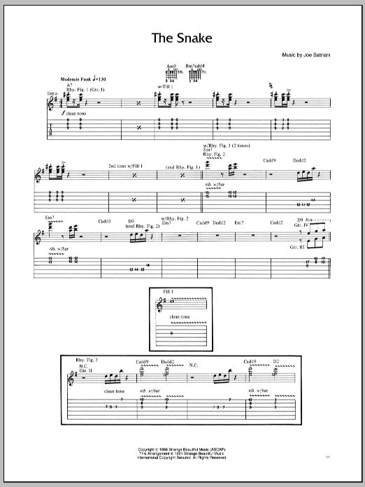 Tablature guitare The Snake de Joe Satriani - Tablature Guitare