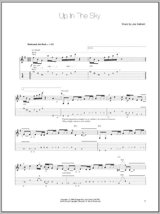 Tablature guitare Up In The Sky de Joe Satriani - Tablature Guitare