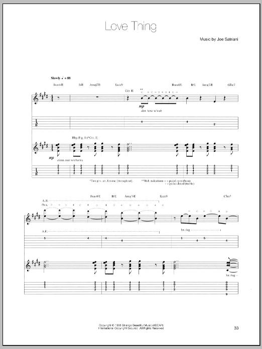 Tablature guitare Love Thing de Joe Satriani - Tablature Guitare