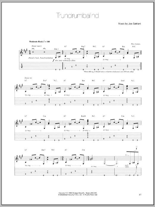 Tablature guitare Trundrumbalind de Joe Satriani - Tablature Guitare