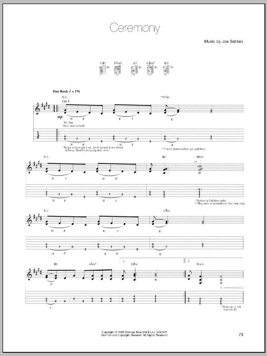 Tablature guitare Ceremony de Joe Satriani - Tablature Guitare