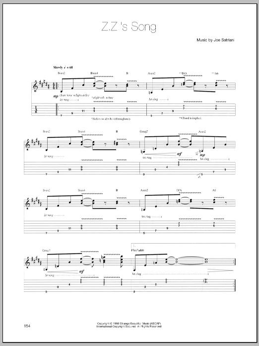 Tablature guitare Z.Z.'s Song de Joe Satriani - Tablature Guitare