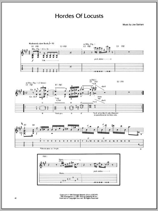 Tablature guitare Hordes Of Locusts de Joe Satriani - Tablature Guitare