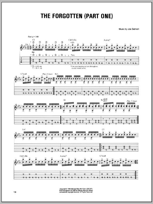 Tablature guitare The Forgotten (Part One) de Joe Satriani - Tablature Guitare