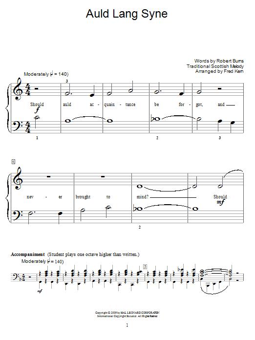 Partition piano Auld Lang Syne de Robert Burns - Piano Facile