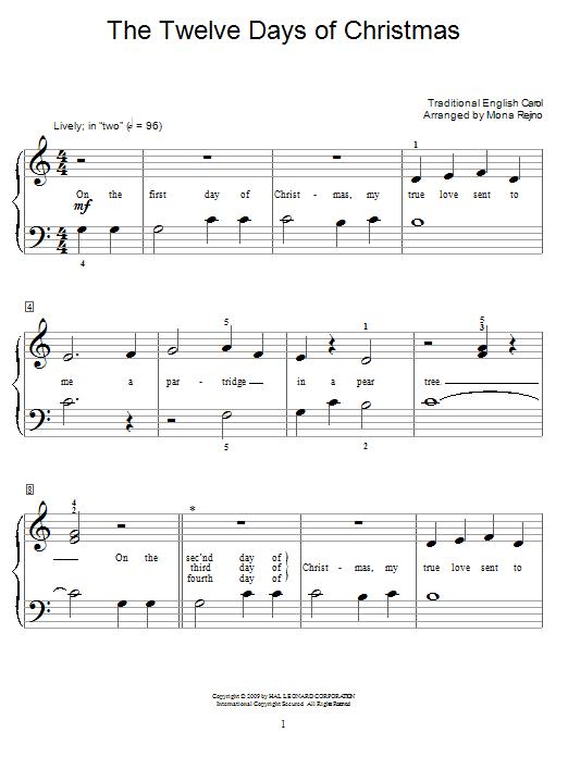 Partition piano The Twelve Days Of Christmas de Traditional English Carol - Piano Facile