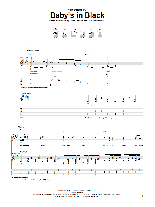 Tablature guitare Baby's In Black de The Beatles - Tablature Guitare