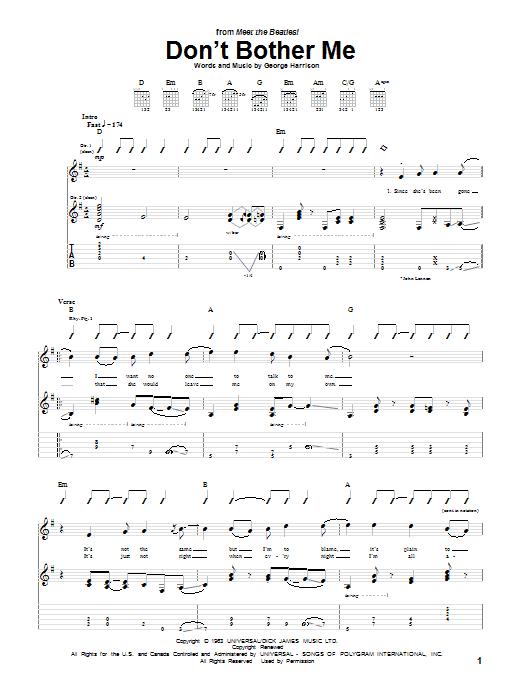Tablature guitare Don't Bother Me de The Beatles - Tablature Guitare