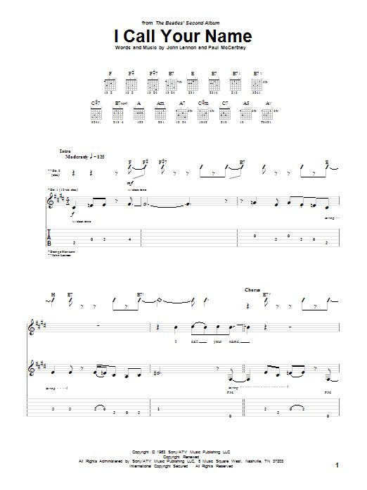 Tablature guitare I Call Your Name de The Beatles - Tablature Guitare