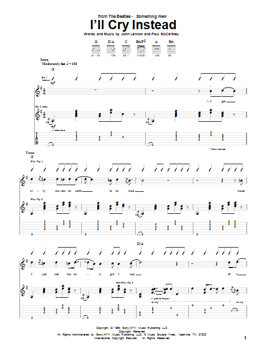 Tablature guitare I'll Cry Instead de The Beatles - Tablature Guitare