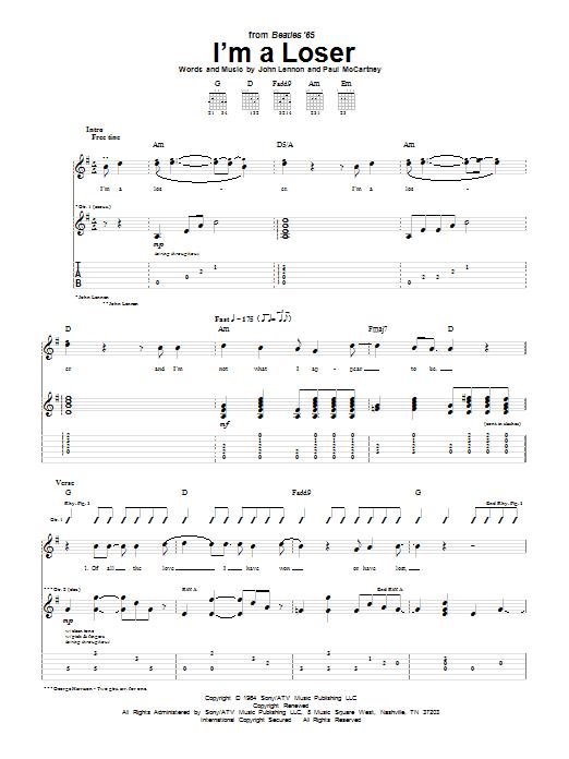Tablature guitare I'm A Loser de The Beatles - Tablature Guitare