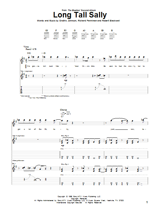 Tablature guitare Long Tall Sally de The Beatles - Tablature Guitare