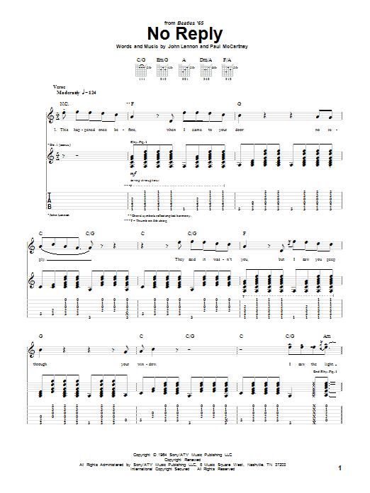 Tablature guitare No Reply de The Beatles - Tablature Guitare