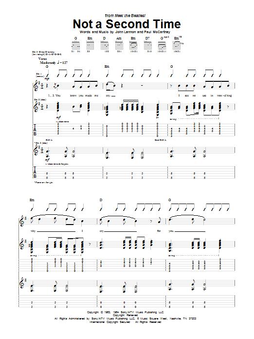 Tablature guitare Not A Second Time de The Beatles - Tablature Guitare