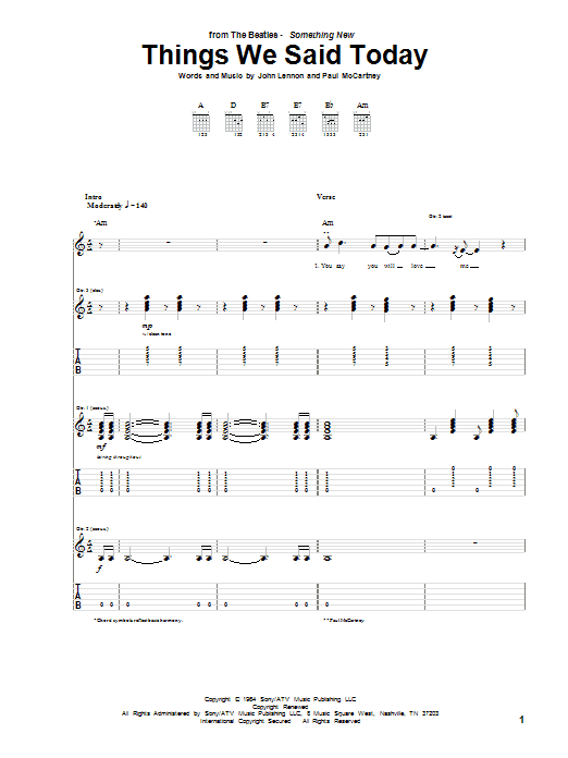 Tablature guitare Things We Said Today de The Beatles - Tablature Guitare
