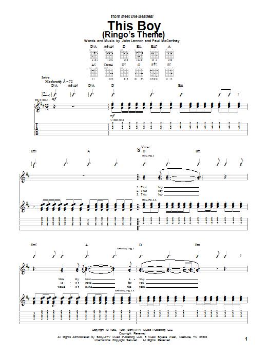 Tablature guitare This Boy (Ringo's Theme) de The Beatles - Tablature Guitare