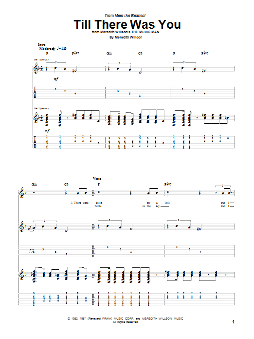 Tablature guitare Till There Was You de The Beatles - Tablature Guitare