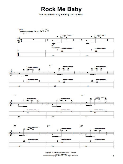 Tablature guitare Rock Me Baby de B.B. King - Tablature Guitare
