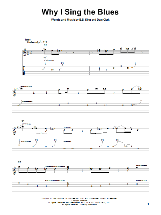 Why I Sing The Blues sheet music for guitar solo (tablature, play-along) by B.B. King