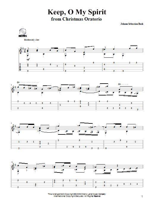 Tablature guitare Keep, O My Spirit de Johann Sebastian Bach - Tablature Guitare