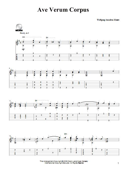 Tablature guitare Ave Verum (Jesu, Word of God Incarnate) de Wolfgang Amadeus Mozart - Tablature Guitare
