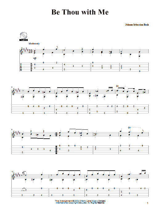 Be Thou With Me sheet music for guitar solo by Johann Sebastian Bach