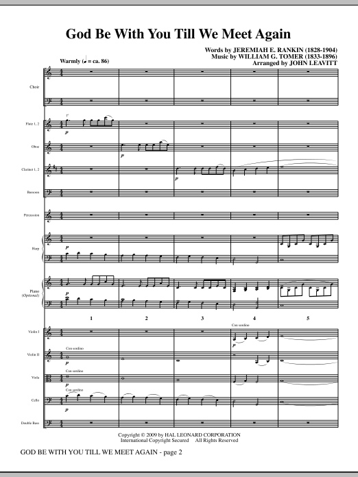 God Be With You Till We Meet Again sheet music for orchestra/band (full score) by Jeremiah E. Rankin