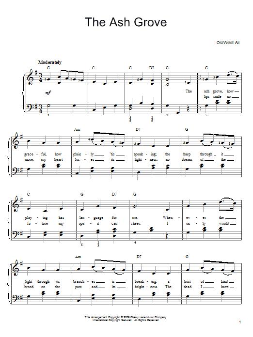 Partition piano The Ash Grove de Traditional - Piano Facile