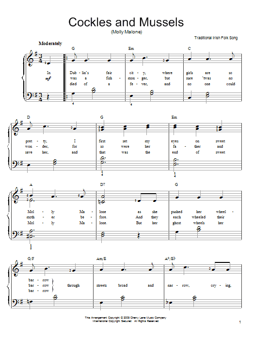 Partition piano Cockles And Mussels (Molly Malone) de Irish Folksong - Piano Facile