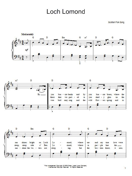 Partition piano Loch Lomond de Scottish Folksong - Piano Facile