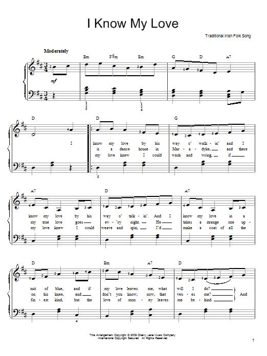 Partition piano I Know My Love de Irish Folksong - Piano Facile