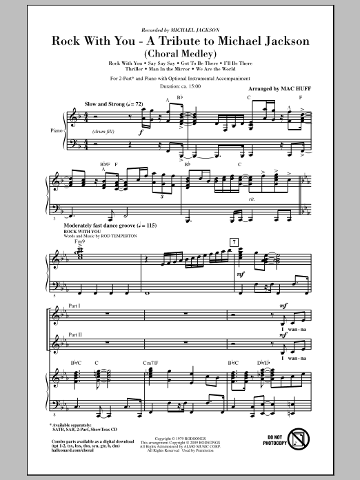 Rock With You - A Tribute to Michael Jackson (Medley) sheet music for choir and piano (duets) by Rod Temperton