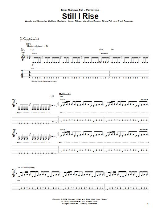 Tablature guitare Still I Rise de Shadows Fall - Tablature Guitare