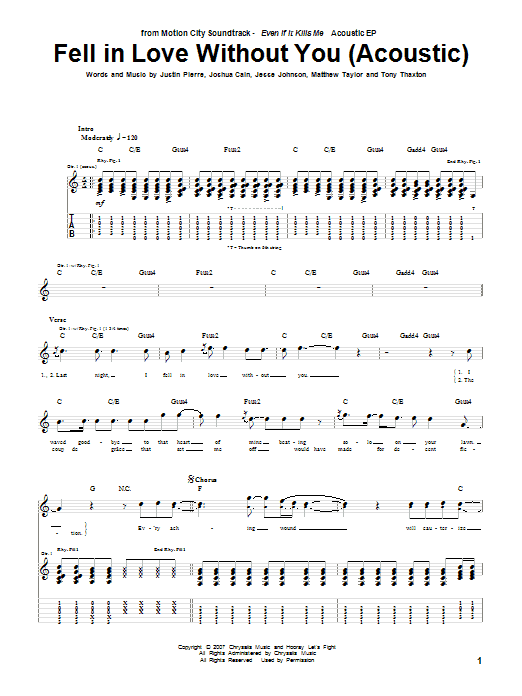 Tablature guitare Fell In Love Without You (Acoustic) de Motion City Soundtrack - Tablature Guitare