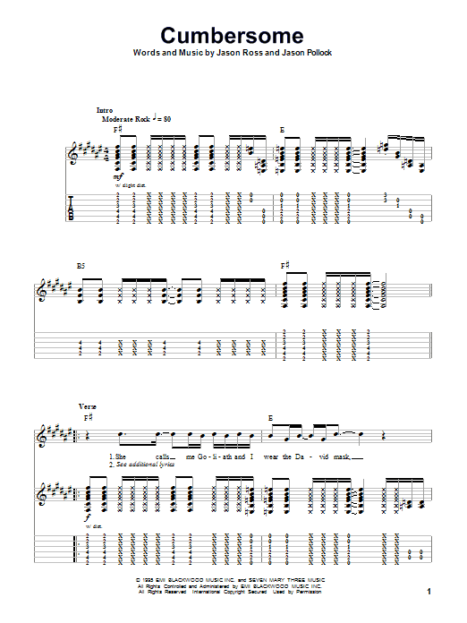 Cumbersome sheet music for guitar solo (tablature, play-along) by Jason Ross