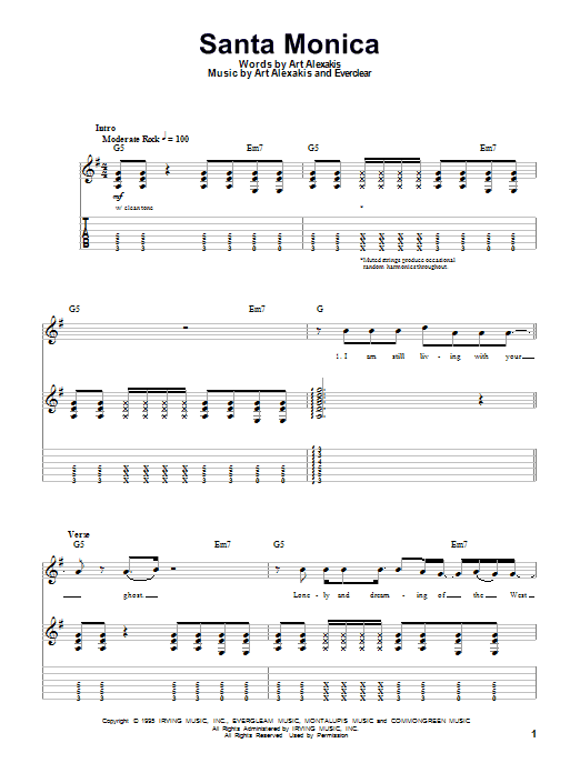 Santa Monica sheet music for guitar solo (tablature, play-along) by Art Alexakis
