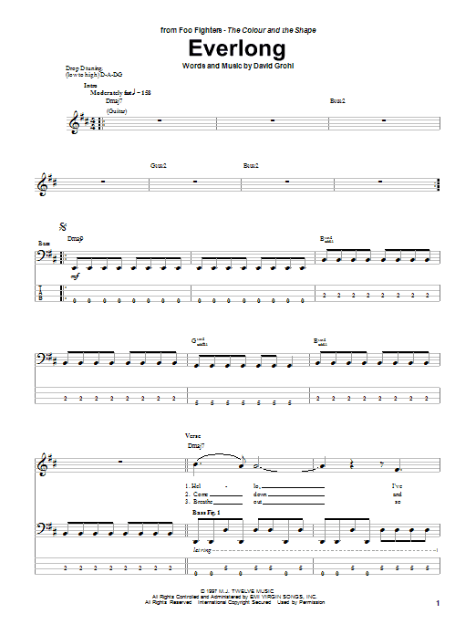 Tablature guitare Everlong de Foo Fighters - Tablature Basse