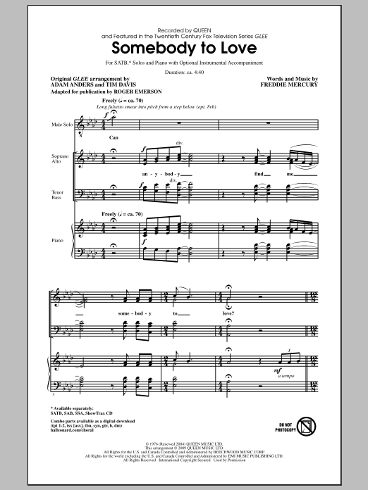 Somebody To Love sheet music for choir and piano (SATB) by Freddie Mercury
