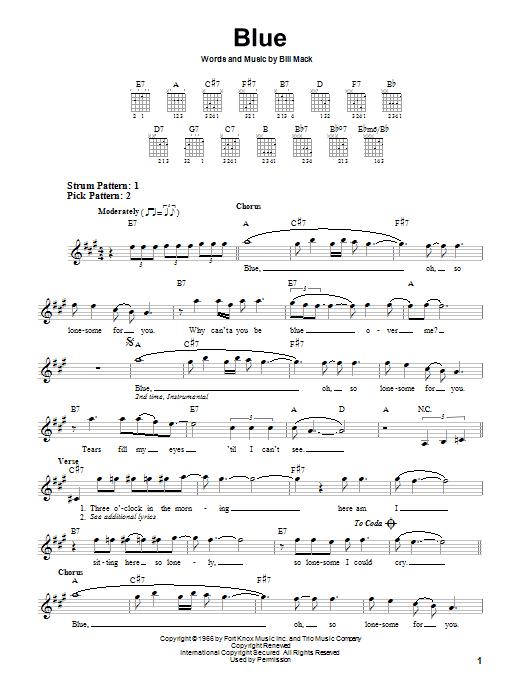 Tablature guitare Blue de LeAnn Rimes - Tablature guitare facile